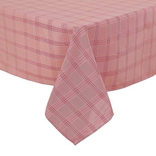 Deconovo Leinenoptik Tischdecke Wasserabweisend Esszimmer, Polyester, Rot Weiß, 140x240