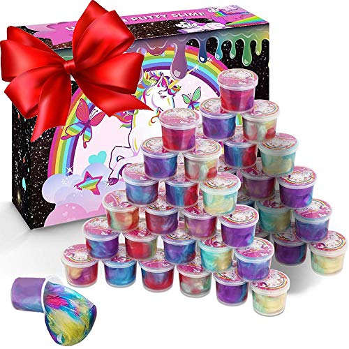 Brave Hours Unicorn Slime Kit Supplies,48 Packs Galaxy Slime, Party Favor for Kids Girls & Boys,Stress Relief Toys for Birthday Gift,Classroom Prize,Goodie Bag
