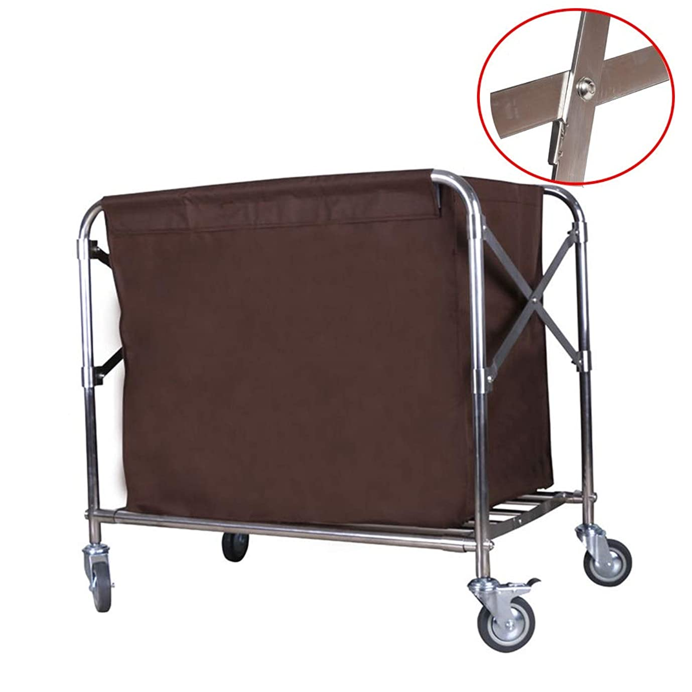 クロール大工変色する普遍的な車輪が付いているXタイプ折る商業洗剤のリネンカート、取り外し可能な灰色袋が付いている家の移動式洗濯物入れ