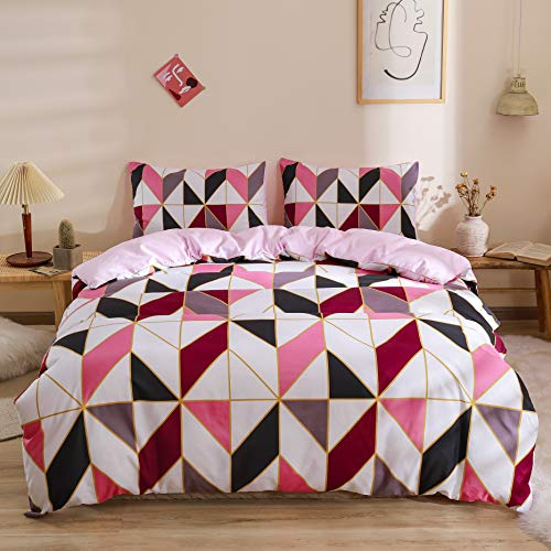 Shamdon Home Collection 3 PCS Double Bed Duvet Cover Set including 2 Pillow Cases with Zipper Closure, Pink Bedding Set, Easy Care Machine Washable, Poly-Cotton Blend,Rhombus Pattern,200 x 200 cm