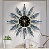 Cakunmik Modernos Relojes de Pared Grandes para Sala de Estar, Relojes de diseño, Esfera Negra, Modelado de árboles de Navidad, Reloj silencioso 3D, Funciona con Pilas, Plateado y Azul,S