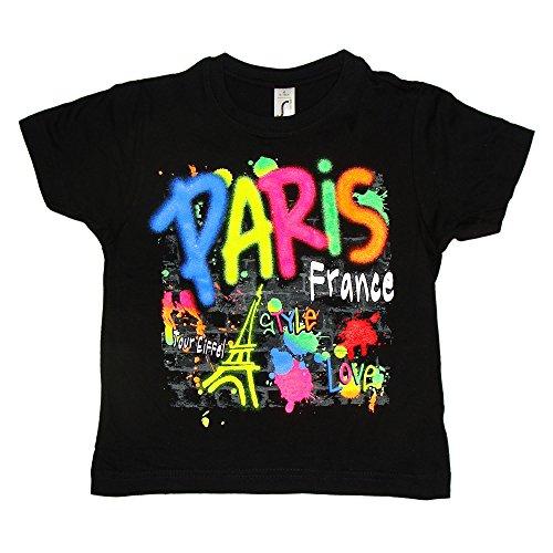 T-Shirt Garçon 'Paris Fluo' - Noir (8 Ans)