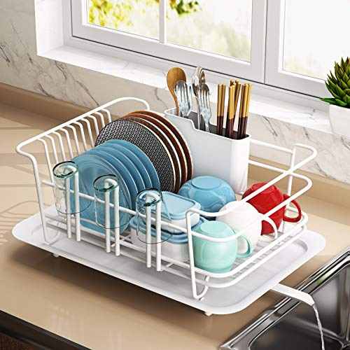 Dish Drying Rack 1Easylife Dish Drainer for Kitchen Rustproof Dish Rack and Drainboard Set with Removable Utensil Holder and Adjustable Swivel Spout Countertop or in Sink Dry Rack White