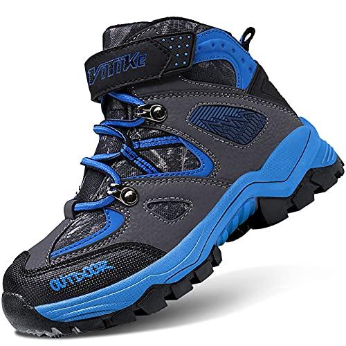 VITIKE Śniegowce dziecięce, chłopięce, z ciepłą podszewką, buty na śnieg, buty trekkingowe, buty dla chłopców i dziewczynek, - 0 czarny - 39 eu