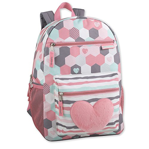 Girl's Backpack With Plush Applique And Multiple Pockets (Plush Hearts)