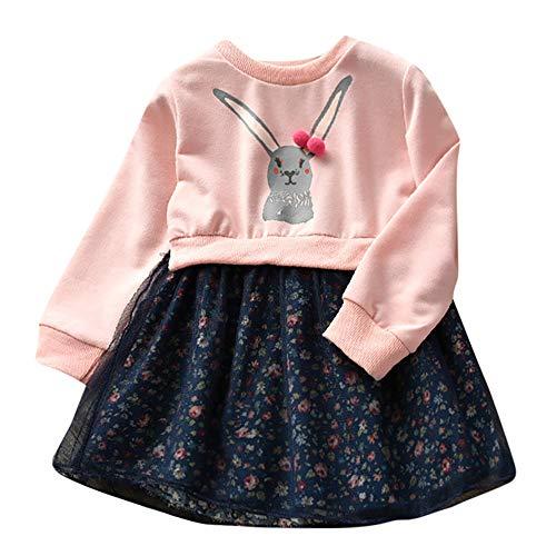 Kinder Baby Mädchen Kleider, Cartoon Kaninchen Niedlichen Kleinkind Bunny Floral Prinzessin Kleid Karneval Ostern Langarm Pullover Mosaik Outfits Kleidung(Rosa,120)