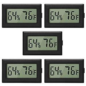 Linkhood Mini Thermometer Hygrometer, Small Digital Electronic Temperature Humidity Meters Gauge Indoor LCD Display Fahrenheit for Humidors, Greenhouse, Garden, Cellar, Fridge, Mason Jar