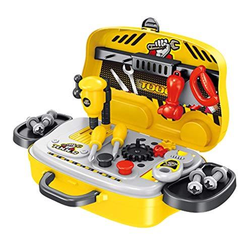 Caja de herramientas portátil para niños, juego de banco de trabajo, mini estuche de transporte con variedad de accesorios para niños, construcción realista que incluye reglas