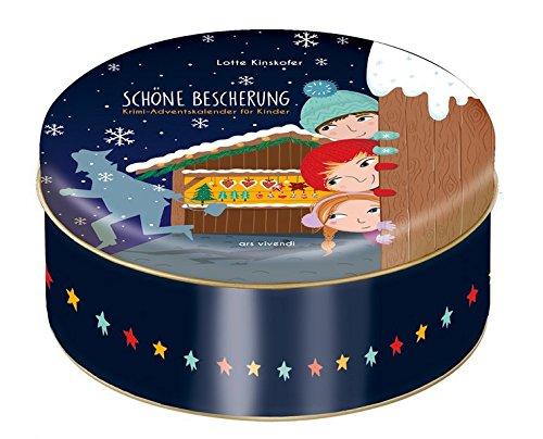 Adventskalender Schöne Bescherung - Krimi-Adventskalender für Kinder zum Vorlesen mit 24 Karten zum Aufhängen in Blechdose