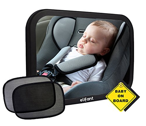 Baby Car Mirror for Back Seat (Fully Assembled) - BONUS Pair of Sunshades, Baby on Board Sign, & Microfiber Cleaning Cloth