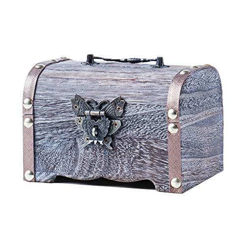 huchas Retro caja de madera Alcancía Caja de seguridad Caja de Ahorros hecho a mano caja de dinero de la caja de almacenaje de la joyería for las muchachas niños y adultos regalo huchas electronicas