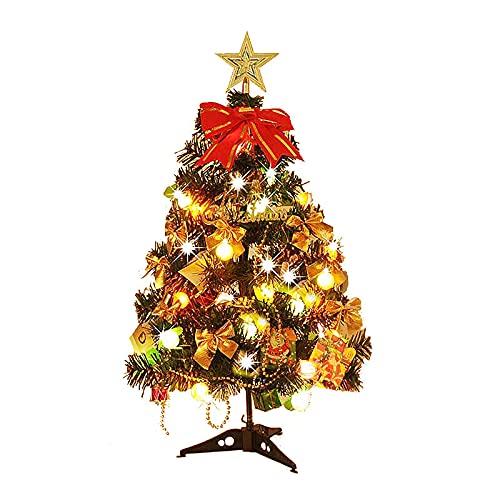 RESOYE Mini árbol de Navidad, árbol de Navidad artificial de mesa de 23.6 pulgadas, árbol de pino de Navidad con 20 luces LED para decoración de fiestas en el hogar