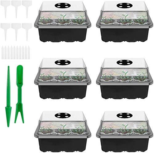 6 bandejas de arranque para plantas, 12 rejillas con kit de trasplantadores y etiquetas de plantas, ideal para la propagación de la planta verde.