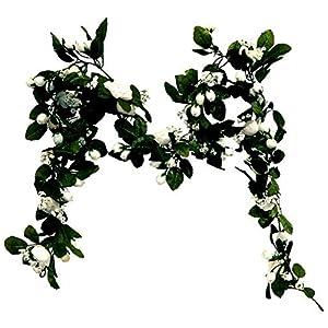 Artificial Fake Silk Flowers Mini Rose Garland Wedding Arch Swag Backdrop 6ft #AFFTM (White)