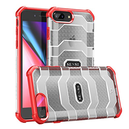 Eabhulie iPhone 7 Plus / 8 Plus Funda, Híbrido Translúcido de PC con Esquinas Reforzadas TPU Parachoques Anti-Choque de Grado Militar Protección Carcasa para iPhone 7 Plus / 8 Plus Rojo