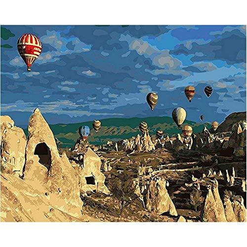 DIY Olieverfschilderij Woestijn Ballon DIY Schilderen door cijfers Kits Acryl Handgeschilderde DIY Schilderen voor Home Decor Unieke Cadeau-40 * 50Cm, Zonder Frame
