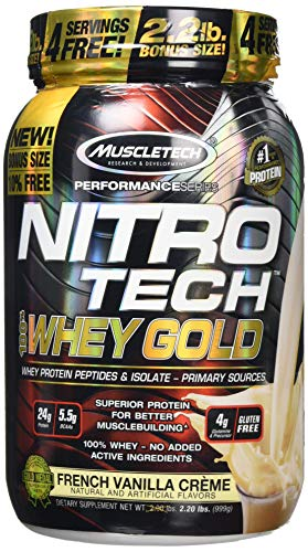 MuscleTech Nitro-Tech Whey Gold Protein Powder, Whey Isolate and Peptides, 24 Grams Protein, 5.5 Grams BCAAs, Easy to Mix, Tastes Great, Gluten-Free, French Vanilla Cream, 999 g (31 Servings)
