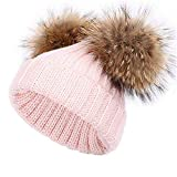 feifanshop Gorro de lana unisex para mujer, gorro de punto con pompón, grande, pelo de mapache Rosa. Talla única