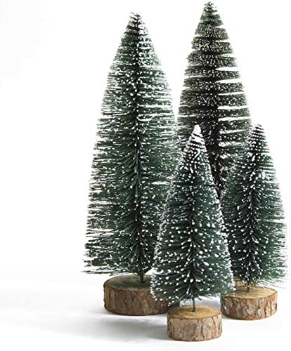 Dream Loom Mini Christmas Trees, 4pcs Sisal Trees with Wood Base, Bottle Brush Trees Xmas Tabletop Trees for Home Kitchen Christmas Décor