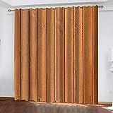Cortina marrón 3D Cortinas Opaca,Resistente al Calor y La Luz para Opacas Salón Dormitorio,Opacas Cortina Oficina Moderna Decorativa Reducción de Ruido 2 Paneles 110x215 cm (WxH)