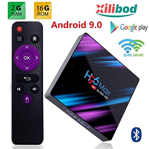 Xilibod Android 9.0 TV Box, H96 MAX TV Box 2GB RAM 16GB ROM USB 3.0/BT 4.0/2.4G 5G Dual WiFi/3D/4K/H.265 KD18.1 Smart Android TV Box