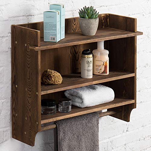 MyGift 3-Tier Wall Mounted Wood Bathroom Shelves with Hanging Towel Bar