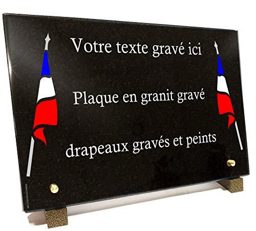 Plaque funéraire drapeaus Bleu Blanc Rouge Militaire Anciens Combattants en Granit gravé Personnalisable 30 x 20 x 2 cm