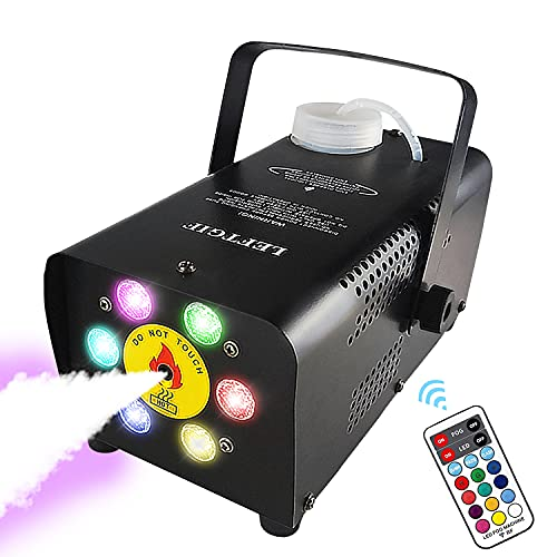 Leftgif Halloween Fog Machine, 6 LED Lights 12 Colors Effect 2000 CFM,500W Wireless Remote Control Smoke Machine With Fuse Protection For Party Wedding Stage Effect Club Bar Photography