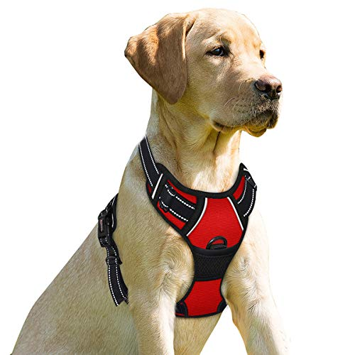 BARKBAY No Pull Dog Harness Front Clip Heavy Duty Reflective Easy Control Handle for Large Dog Walking(Red,XL)