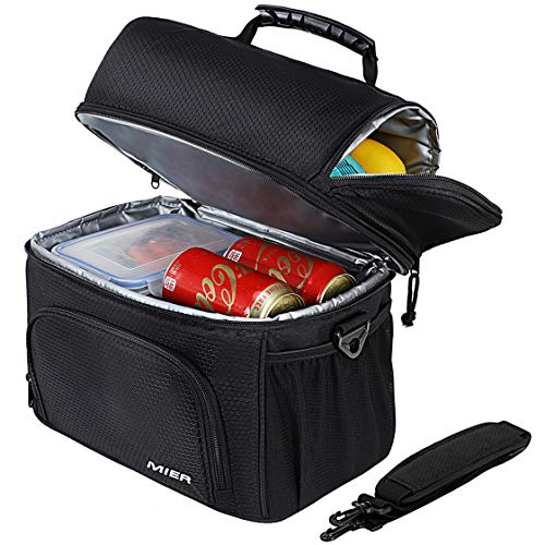 MIER Insulated Lunch Bag Tote for Women Men 2 Compartment Reusable Soft Cooler Bag for Work, School, Medium, Black