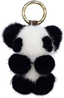 Fluffy Panda Keychain Fluffy Mink Fur Pom Pom Keychain Cute Panda Key Ring for Women Girl Bag