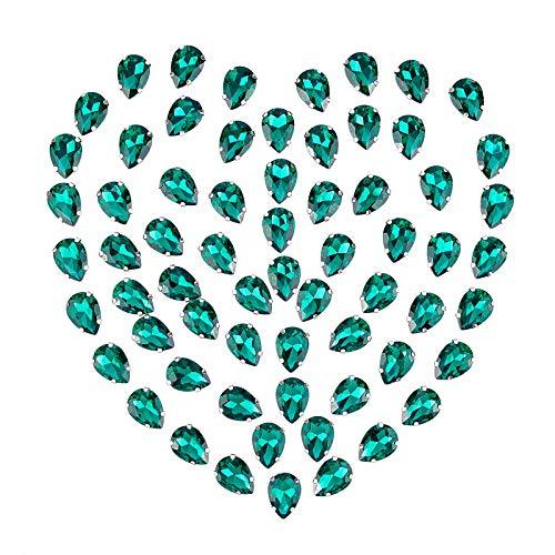 GORGECRAFT 80PCS Coser En Diamantes de Imitación, Gemas de Lágrima de Cristal Coser Garra Rhinestone Piedras Preciosas de Espalda Plana para Joyería Ropa Bolsa Zapatos Vestido, Verde Mar