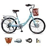 LWZ Bicicleta Retro para Mujer Comfort Cruiser Bike con Cesta 24 Pulgadas Ruedas de 7 velocidades Bicicleta de Ciudad Ligera