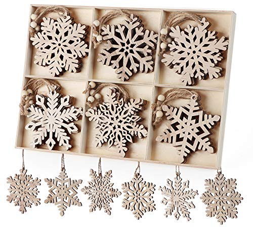 Christmas Wooden Ornaments 24 Pcs Snowflakes Hanging Decoration Wood Snowflake Ornament for Christmas Tree Gift Tag DIY Craft, 10cm