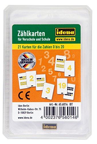 Idena 656014 Zählkarten, 21 Stück, Zahlen von 0-20