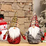 Holiday Stuffed Gnomes Decorations,2 Pack Handmade Swedish Tomte Christmas Elf Ornaments Couple Standing Gnome Plush Doll Gifts Tabletop Santa Figurine Kids Birthday Present,Farmhouse Gnome Home Decor