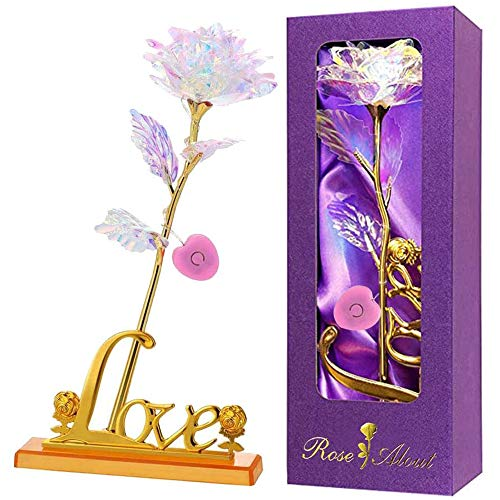 Rosa 24K Chapadas en Oro Rosa Eterna Rosas Flores Artificiales Rosa de Galaxia con Caja de Regalo y Soporte Luz LED para Novia Esposa Día de San Valentín Día de la Madre Aniversario Boda Cumpleaños