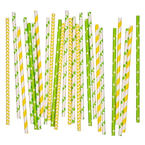 Salong Papierstrohhalme | Papiertrinkhalme | Party-Trinkhalme aus Papier in vielen Farben | Party-Strohhalme | Papier-Trinkhalme | Papptrinkhalme | Grün-Gelb | 25 Stück