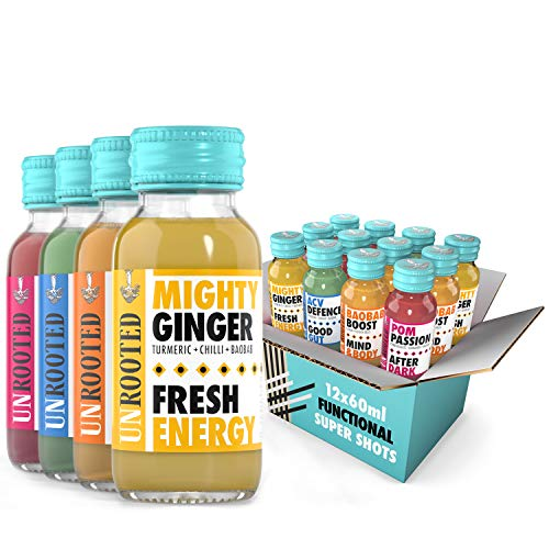 Unrooted - Healthy Shot - Mixed Case - 3X Mighty Ginger - 3X ACV Defence - 3X Pom Passion - 3X Baobab Boost - 12 x 60ml