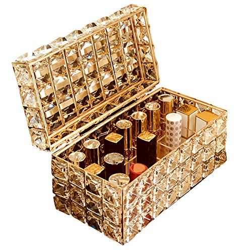 LTLGHY Make-Up Veranstalter Für Lippenstift, Gold Spiegelglas-Ober Kommode Make-Up-Schmuck-Kosmetik Tablett, Eitelkeitsablage Spiegelklare Schubladenaufbewahrung Für Eitelkeit, Kommode
