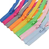 Meillia 8PCS 27 Inch Separating Jacket Zippers for Sewing Coat Clothes Jacket Zipper Heavy Duty Plastic Zippers Bulk in 8 Colors (27' 8pcs)