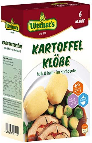 Werner´s Kartoffelklöße im praktischen Kochbeutel 6 Stück, 6 Packungen pro Karton, ohne Farbstoffe, ohne zugesetzte Aromen, fettarm, einzeln entnehmbar,