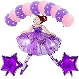 siqiwl Conjunto de Globos 13pcs 104 * 66cm Brillante Bailarina Chica Foil Globos Set Ballet bailarín Helium Globos niñas Feliz cumpleaños Fiesta Suministros de decoración purpleset