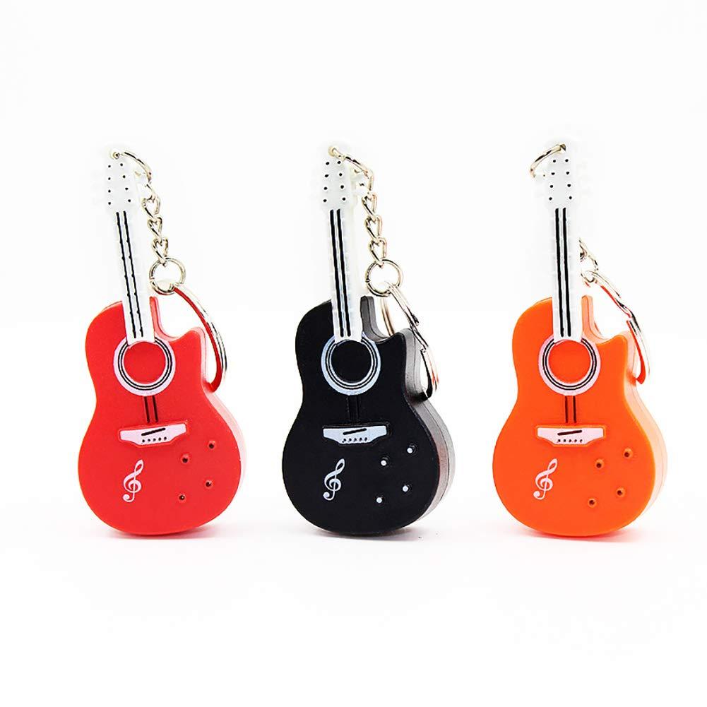 qhtongliuhewu Llavero de Coche, Forma de Guitarra con luz LED ...