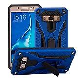 BestST Funda Samsung Galaxy J1 Ace Azul+Pantalla de Cine,Híbrida Doble Capa Rugged Armor Case Choque Absorción Protección Dual Layer Bumper Carcasa con Pata de Cabra para Galaxy J1 Ace,