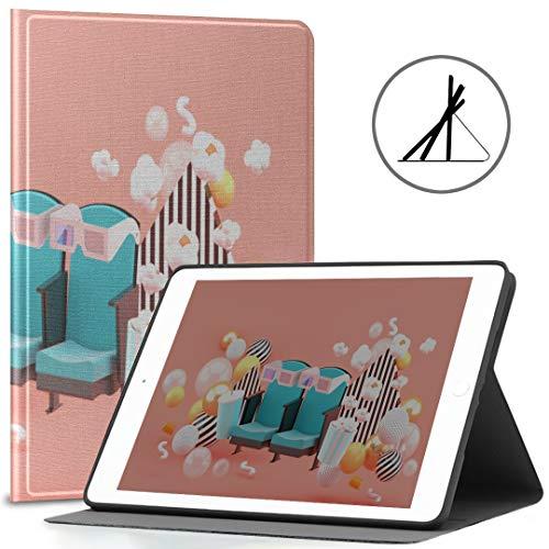 iPad Cubierta de 9.7 Pulgadas (Estuche Blando) Cinema Chair Refrescos Palomitas de maíz Entre iPad Air Cubierta de 2/9.7 Pulgadas con función automática de activación/Reposo, F Adecuado