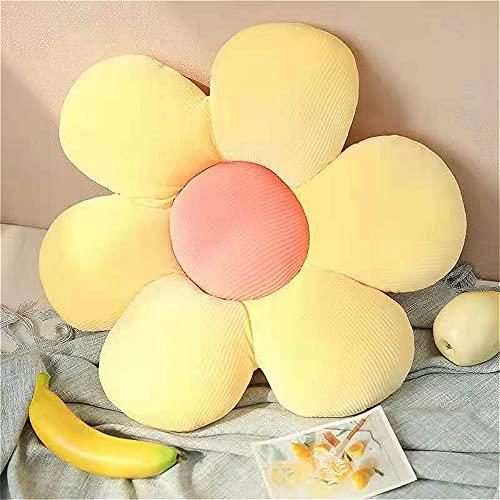 Cojín de piso grande, 55 cm de diámetro, cojín en forma de flor de algodón, felpa gruesa para interiores y exteriores, cojín de asiento de flores para niños