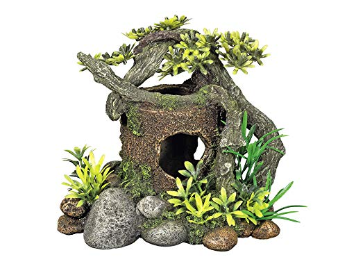 Nobby Aqua Ornaments Holz MIT VERSTECK mit Pflanzen 18 x 15 x 15 cm