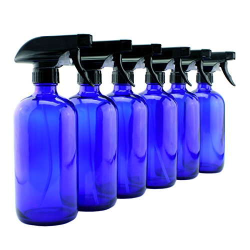 2 Pack SimpleHouseware 16oz Blue Glass Spray Bottles with Chalk Labels Simple Houseware