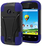Prelude 2 (Zinger) Case - Bastex Heavy Duty Kickstand(T-Stand) Case - Soft Blue Silicone Cover with Hard Black T-Stand Case for ZTE Prelude 2 (Zinger) Z667